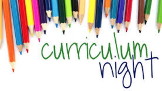 Curriculum Night this Thursday, September 13, 2018